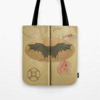 da vinci Tote Bags featuring Leonardo da Vinci by Eva Nev