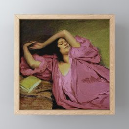 """Classical masterpiece """"Woman Stretching on Couch"""" by Emile Victor Prouvé Framed Mini Art Print"""