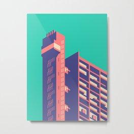 Trellick Tower London Brutalist Architecture - Plain Green Metal Print
