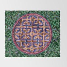 Song for Creativity - Traditional Shipibo Art - Indigenous Ayahuasca Patterns Throw Blanket