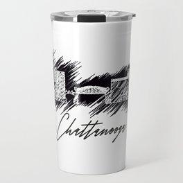 Chattanooga graphic scribble skyline in black Travel Mug