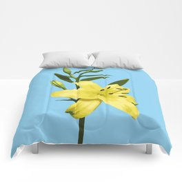 Yellow Lily on Sky Blue Background Illustrated Print Comforters