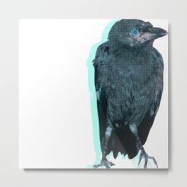 Half Tone Crow Metal Print