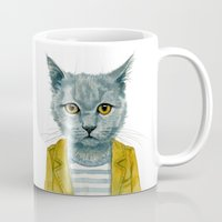 kitty Mugs featuring Kitty by Leslie Evans