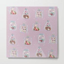 Christmas Pattern Pink Metal Print
