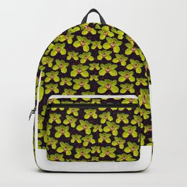 Green Orchids Pattern on Black Background and Flower Element Backpack