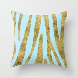 Golden exotics - Zebra and aqua blue Throw Pillow