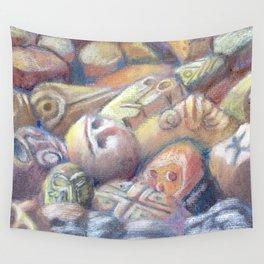 Rix Ciba Kansi - Red Sweatlodge Rocks Wall Tapestry