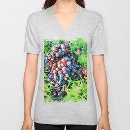 Hortus Conclusus: bunch of black grapes in the grass Unisex V-Neck