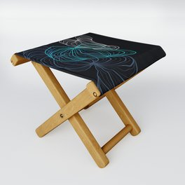 Gray, blue and white / digital drawing Folding Stool