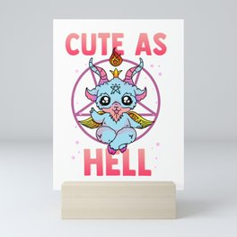 Cute As Hell Satanic Pastel Kawaii Baphomet Pun Mini Art Print