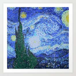 PIXEL STARRY NIGHT Art Print