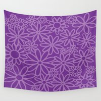 leah flores Wall Tapestries featuring flores malva by Maritserg
