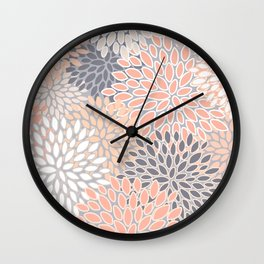 Flowers Abstract Print, Coral, Peach, Gray Wall Clock