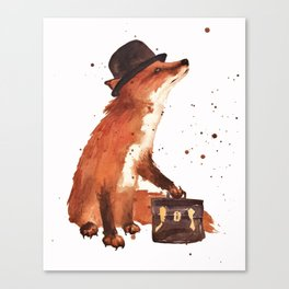 Fox in hat, office decor, gift for the boss, fox, fox painting, British fox Canvas Print