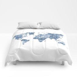 Azurro Blue Marble World Map Comforters