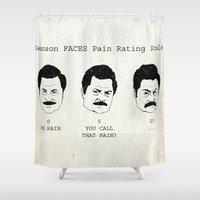 swanson Shower Curtains featuring Swanson FACE Pain Rating Scale by ThePencilClub