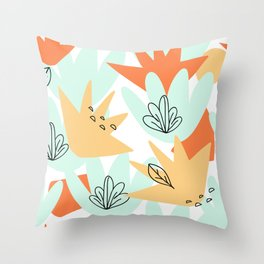 Terra Cotta and Teal Geometry Throw Pillow