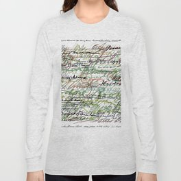 All The Presidents Signatures Green Sepia Long Sleeve T-shirt