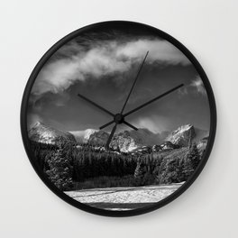 Rocky Mountan Park in Black and White Wall Clock