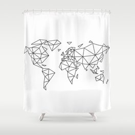 Geometric world map Shower Curtain