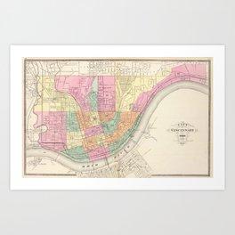 Vintage Map of Cincinnati OH (1872) Art Print