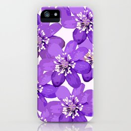 Purple wildflowers on a white background - spring atmosphere iPhone Case