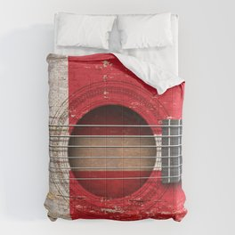 Old Vintage Acoustic Guitar with Danish Flag Comforters