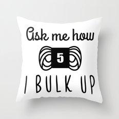bulk up bro funny yarn knit crochet Throw Pillow