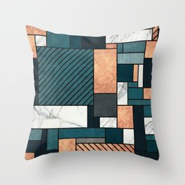 Random Pattern - Copper, Marble, and Blue Concrete Throw Pillow