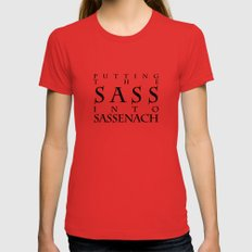 Putting The Sass Into Sassenach X-LARGE Womens Fitted Tee Red