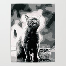 british shorthair cat ready to attack vector art black white Poster