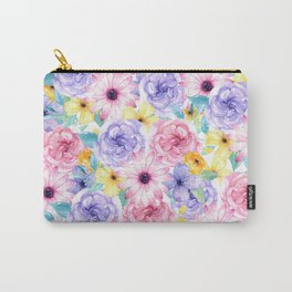 Trendy pink lavender yellow watercolor floral Carry-All Pouch