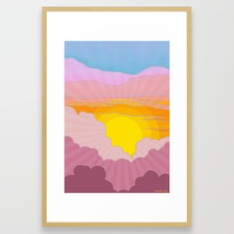 Sixties Inspired Psychedelic Sunrise Surprise Framed Art Print