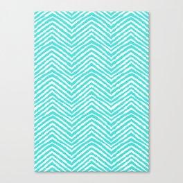 Chevron, Blue, Minimal, Pattern, Cute, Nursery, Kids, Modern art Canvas Print