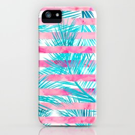Modern pink turquoise tropical palm tree watercolor stripes pattern iPhone Case