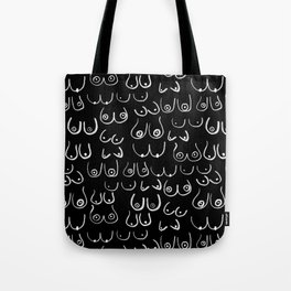 Boobs Pattern - Black and white, feminine art, lady boobs, Tote Bag