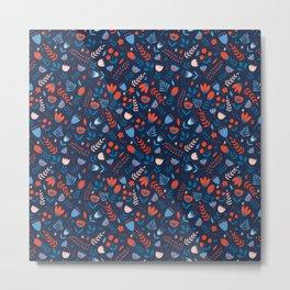 Scandinavian style. Floral seamless pattern. Metal Print