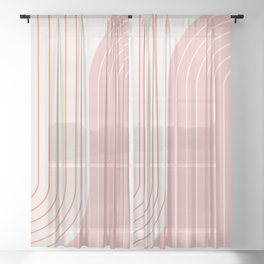Two Tone Line Curvature XIX Sheer Curtain