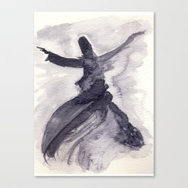 whirling dervish - sufi meditation - ink wash Canvas Print