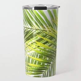 Palm leaves tropical illustration Travel Mug