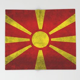 "Flag of Macedonia in ""Super Grunge"" Throw Blanket"