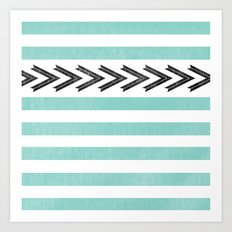 ARROW STRIPE {TEAL} Art Print