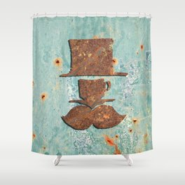 Rusty coffee shop sign Shower Curtain