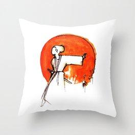 Little Miss Samurai Throw Pillow