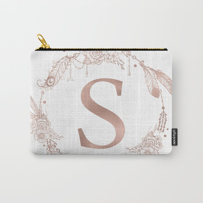 Letter S Rose Gold Pink Initial Monogram Carry-All Pouch