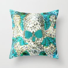 Blingy Blingy Blue Skull Thingy Throw Pillow