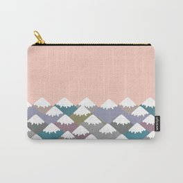 Nature background with Mountain landscape. Gray, pink, blue navy mountain with snow-capped peaks. Carry-All Pouch
