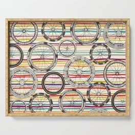 bike wheels stripe Serving Tray