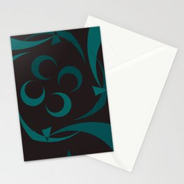 black and turquoise abstract Stationery Cards